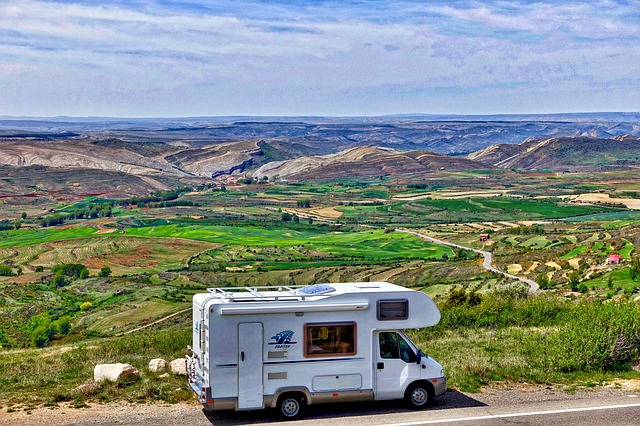Motorhome, Recreational Vehicle, RV, Traveling in the mountains